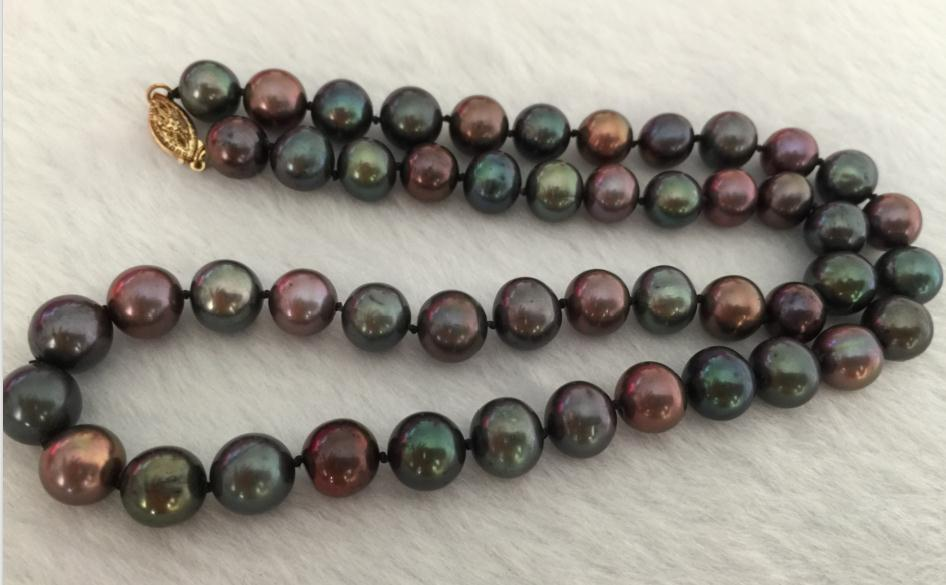 stunning 9-10mm tahitian round multicolor pearl necklace 14k/20stunning 9-10mm tahitian round multicolor pearl necklace 14k/20