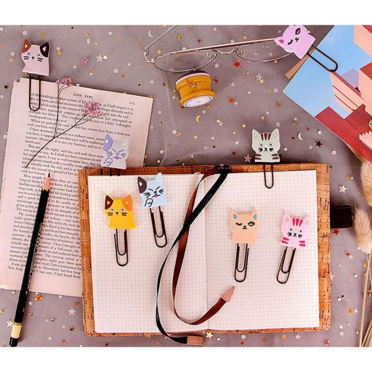 8pcs/lot Creative Kawaii Cute Cat Metal Paper Clip Bookmark Decorative File Dcoument Cards Memo Clips Stationery