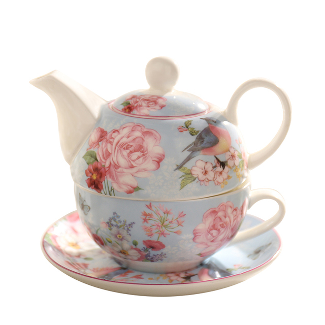 Pastoral Bone China Tea Set Europe Porcelain Teapot with Infuser British Scented Tea Cup Saucer Water Pot Teatime Drinkware