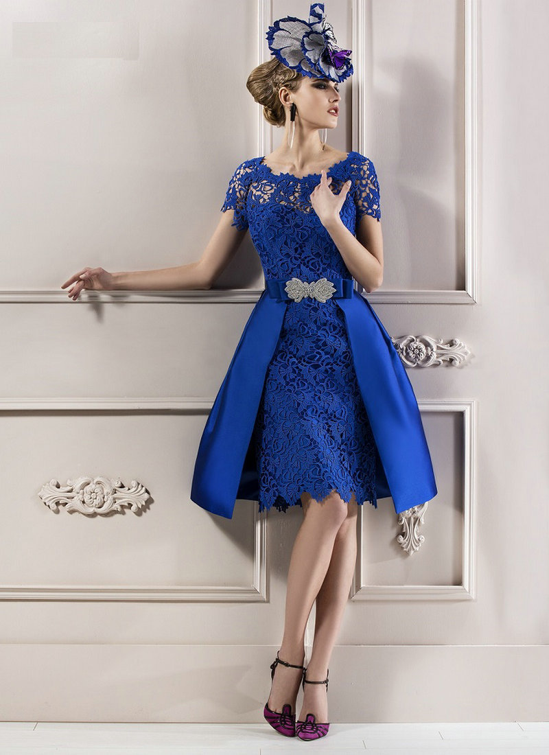 a494a447906 Modest 2016 Elegant Mother Lace Royal Blue Short Sleeves Evening Dress  Mother of the Bride Dresses Lace Without Hat