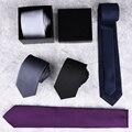 Do homem Novo Clássico Ties 7 cm Poliéster Tecido Listrado Preto Vermelho Laranja Azul Tie Wedding Party Negócios Gravata Casual