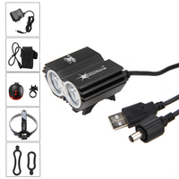 6000LM Waterproof Bicycle LED Front Light 2X XM L T6 Headlight Riding with 2 Port +6400 mAh Battery Pack Set+Red Laser Taillight