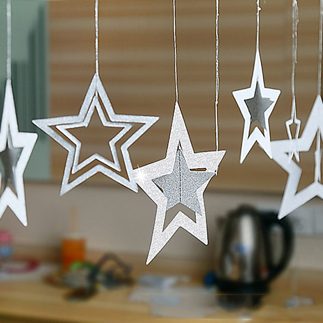 Hot Hollow Star 7pcs/lot Set of Straps Christmas New Year Festivals Wedding Ornaments Ceiling Mounts