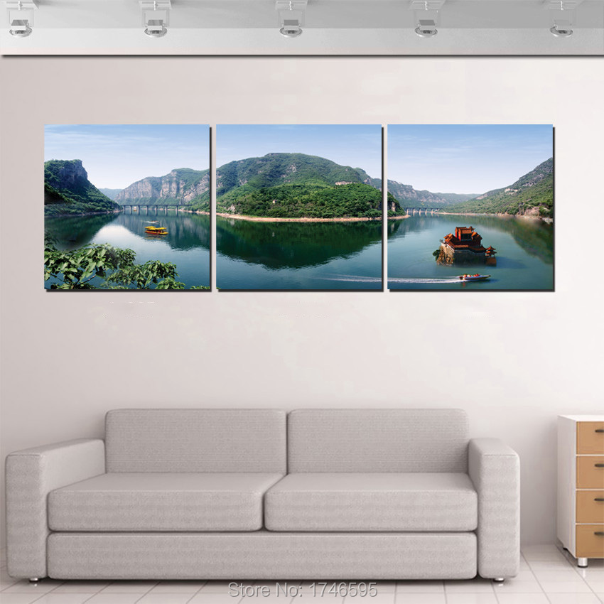Big 3pcs modern home decoration pastoral scenery scenic boat Wall ...
