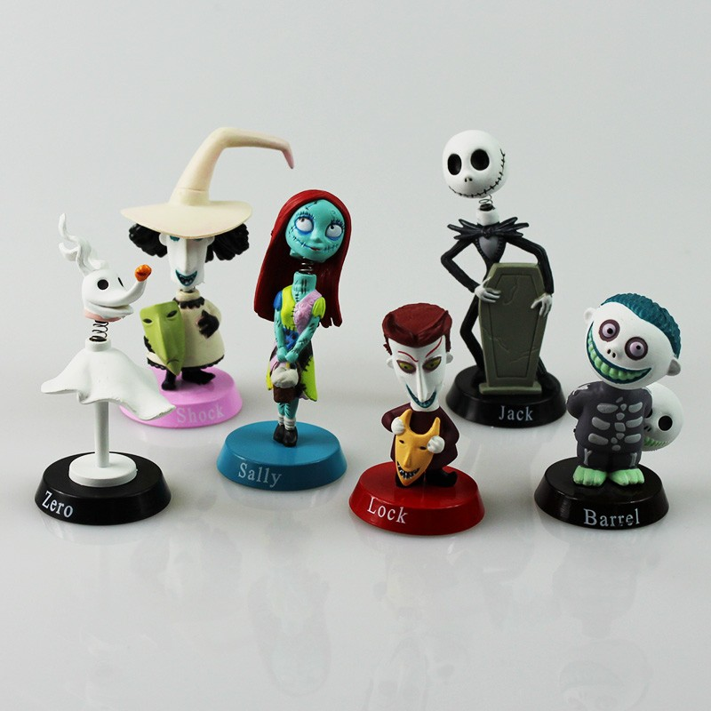 Strict 6pcs/set The Nightmare Before Christmas Henry Selick Clay Animation Jack Sally Shock Zero Head Knock Bobble Head Figure Toys Agreeable Sweetness Toys & Hobbies
