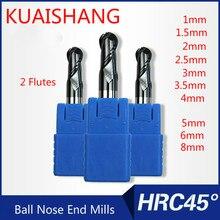 KUAISHANG 2 флейты 1 мм, 2 мм~ 8 мм твердосплавные сферические Концевые Фрезы с ЧПУ Фрезерный резак HRC45 Вольфрамовая сталь сферические концевые фрезы