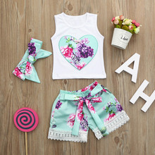 Комплект одежды с цветочным принтом для маленьких девочек из 3 предметов, топы+ шорты+ повязка на голову, Ubranka Dla Niemowlat Yenidogan Bebek Giyim