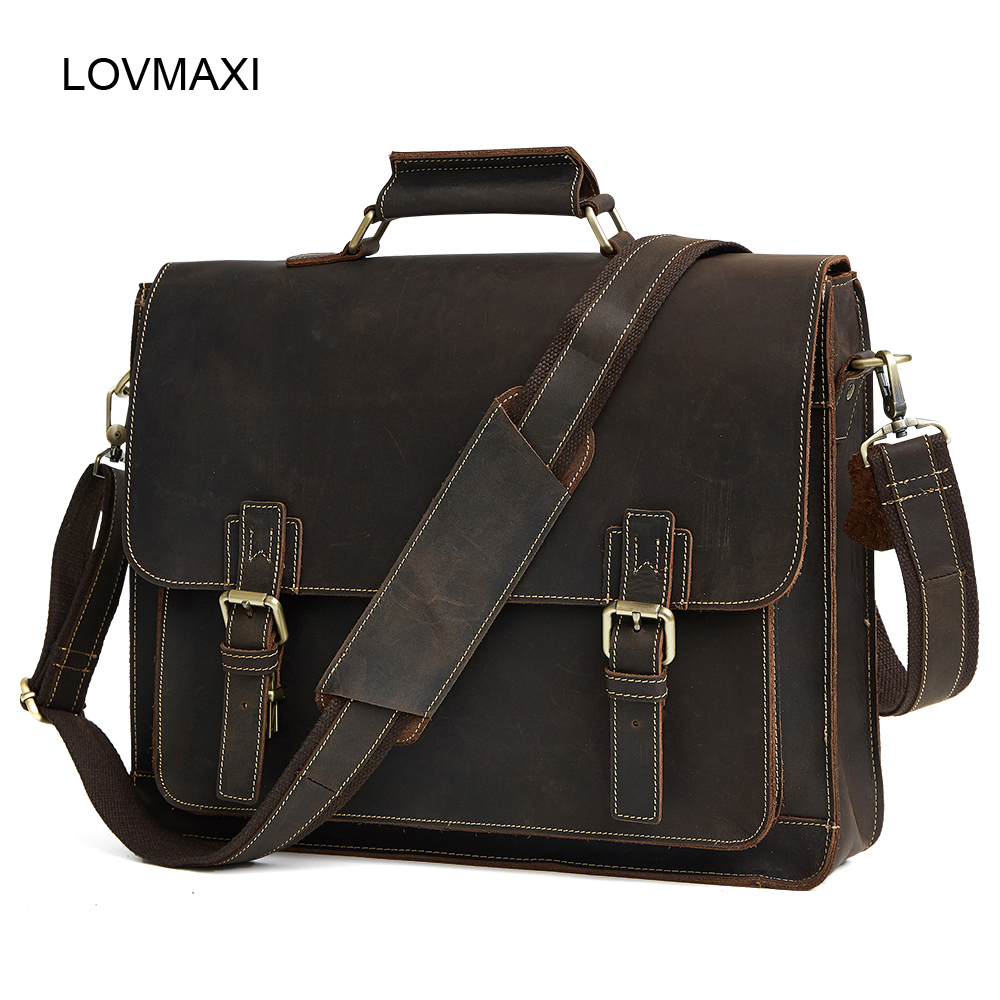 Men's Genuine Leather Briefcases Men Vintage Crazy Horse Leather Business Crossbody Bags Large Handbags Messenger Bag Travel Bag crazy horse genuine leather bag men vintage messenger bags casual totes business shoulder crossbody bags men s travel handbags