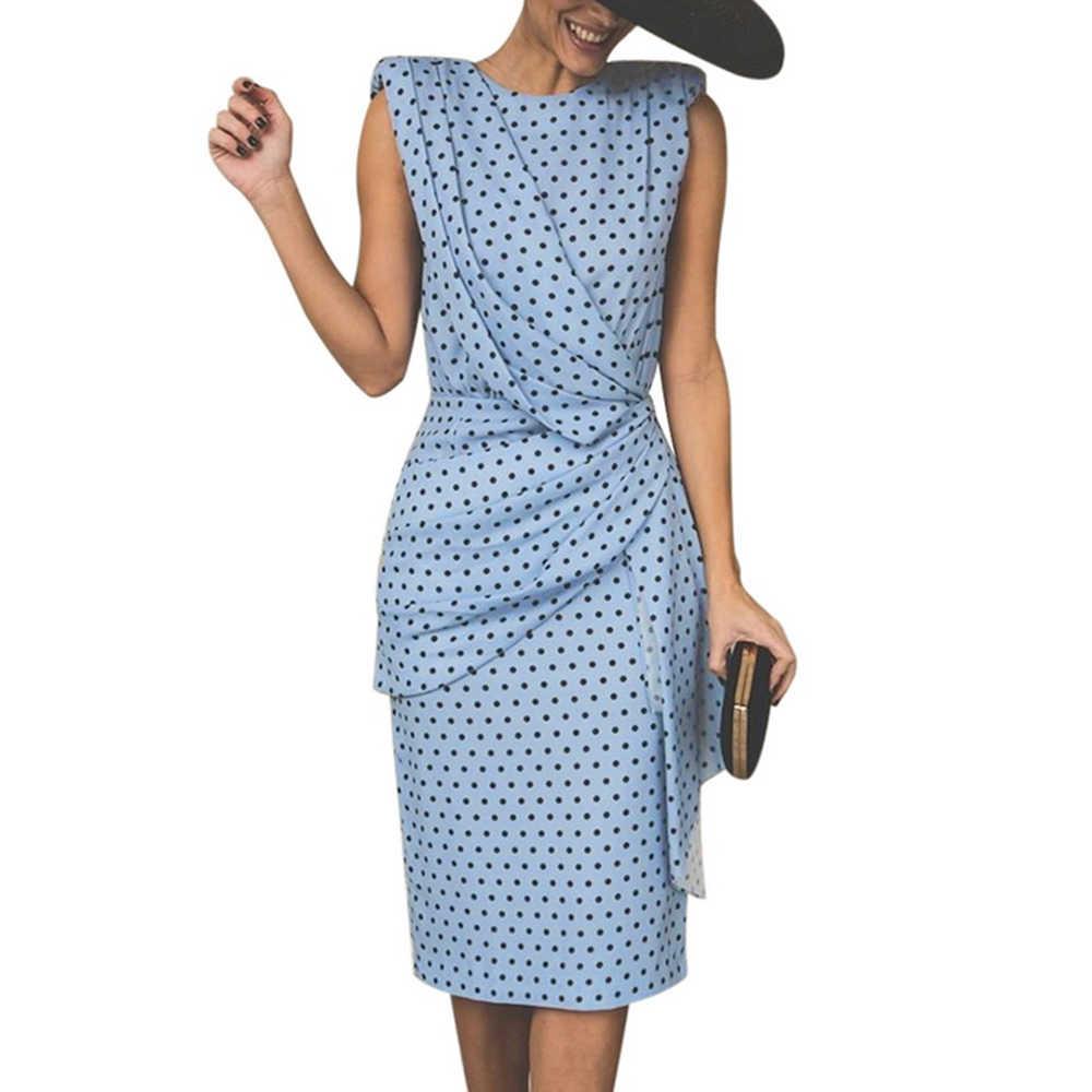 Yaxez ผู้หญิงฤดูร้อน Polka Dot ชุดสีฟ้าสีแดงเซ็กซี่พลัสขนาดสุภาพสตรีสูงเอวแขนกุด Elegant PARTY Dresses