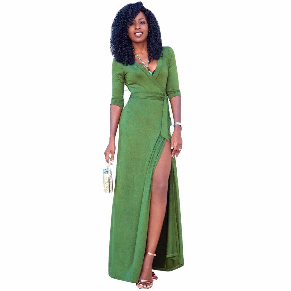 Vintage Women Sashes Side Slit Maxi Dresses Roupas Femininas Winter 3/4 Sleeve High Waist V Neck A Line Long Party Dress