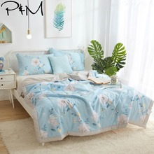 2019 Simple White Flowers Blue Quilt Cotton air-condition Quilted Thin Comforter Summer Throws Blanket Twin Full Queen Size