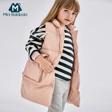 Mini Balabala Kids Long Puffer Vest Children Toddler Gir Winter Down Vest Fashion Sleeveless Waistcoat Casual Outwear Clothes