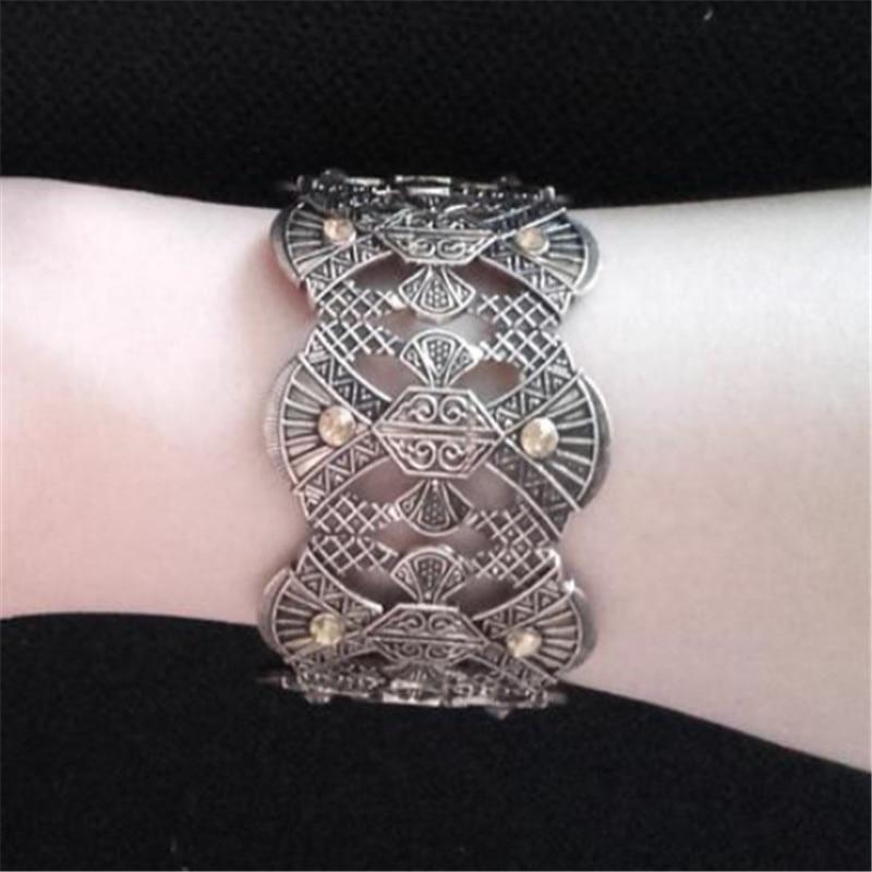 Women Vintage Cuff Bracelet Bohemia Gold Silver Carved Flower Alloy Bracelets Multi Blocks Assemble Bangles