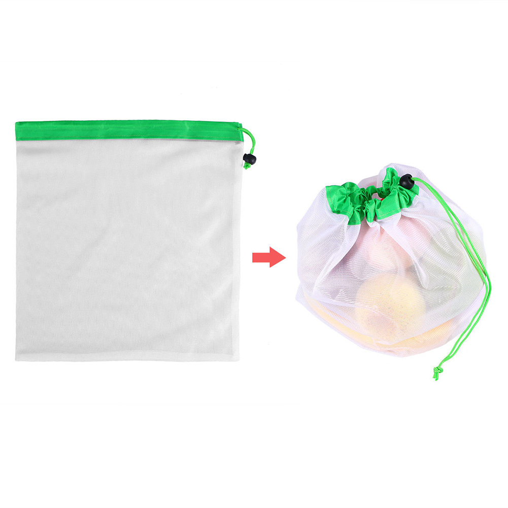 3 Size Kitchen Storage Mesh Bags Washable Bags Grocery Shopping Storage Fruit Vegetable Toys Sundries Organizer Bag Reusable
