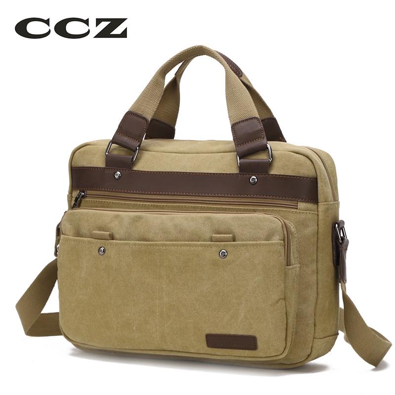 "CCZ Canvas Bag 14"" Laptop Computer Bags Casual Style Canvas School Bag Mens Crossbody Bag HB8010"