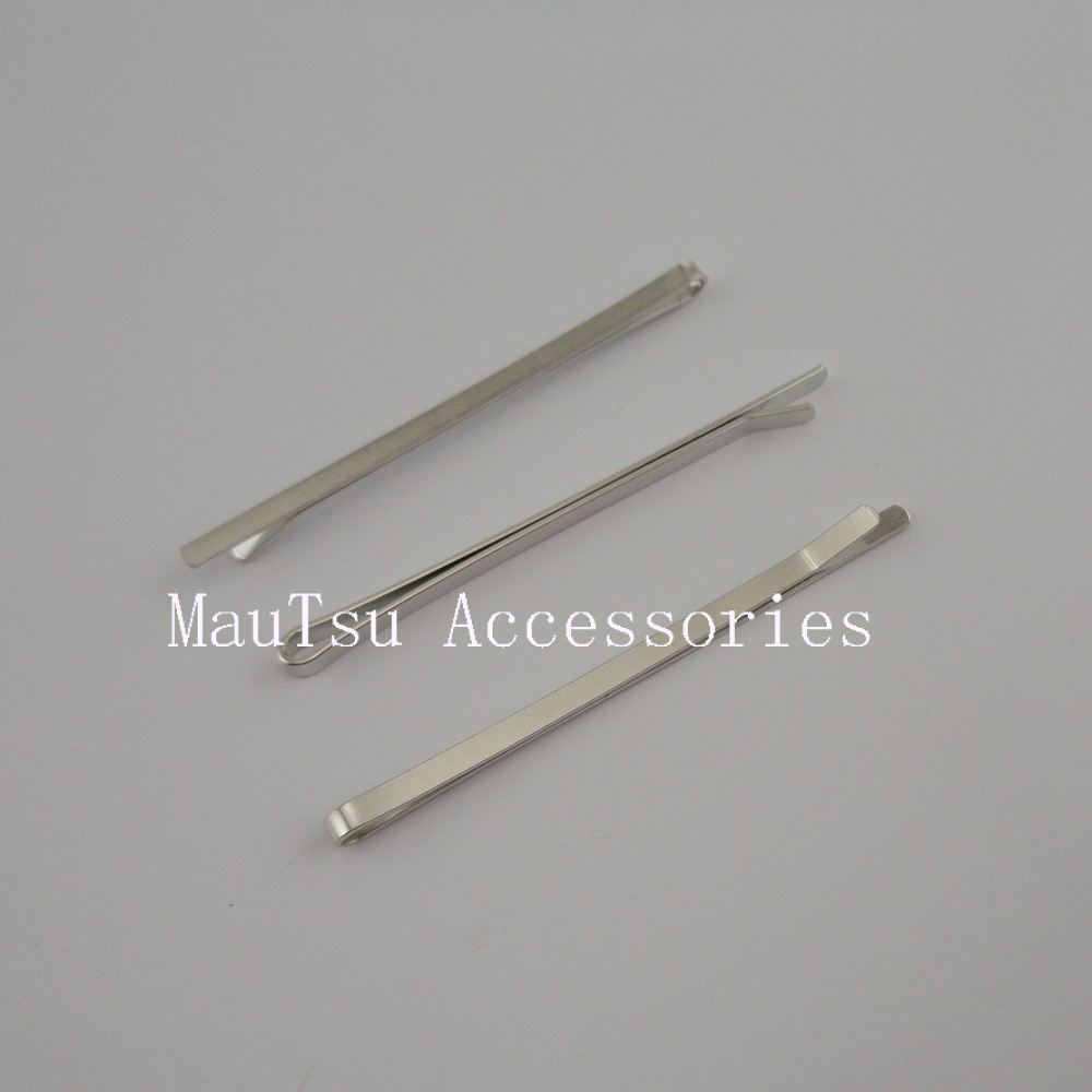 50PCS Silver 6.0cm Plain Metal Slide snap clips,nickle free,lead free barrettes