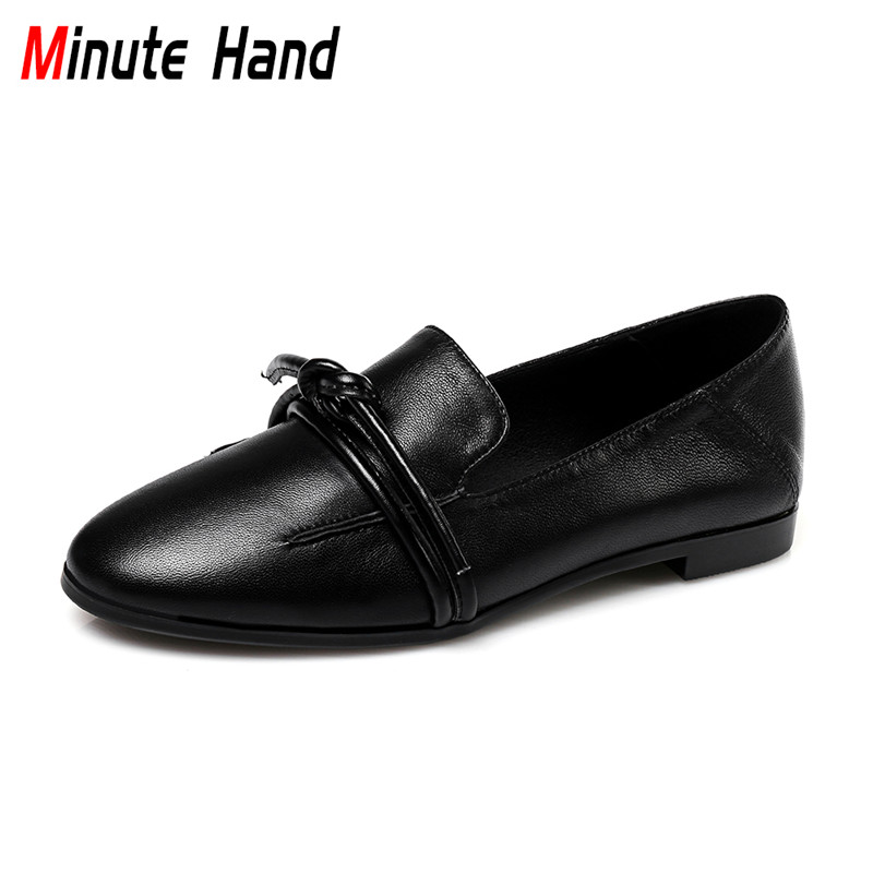 Minute Hand Genuine Leather Shoes Women Flat Loafers Round Toe Fashion Slip On Flats Lace Up Casual Shoes Bowknot Simple Shoes fashion brand genuine leather shoes for women casual mother loafers soft and comfortable oxfords lace up non slip flat moccasins