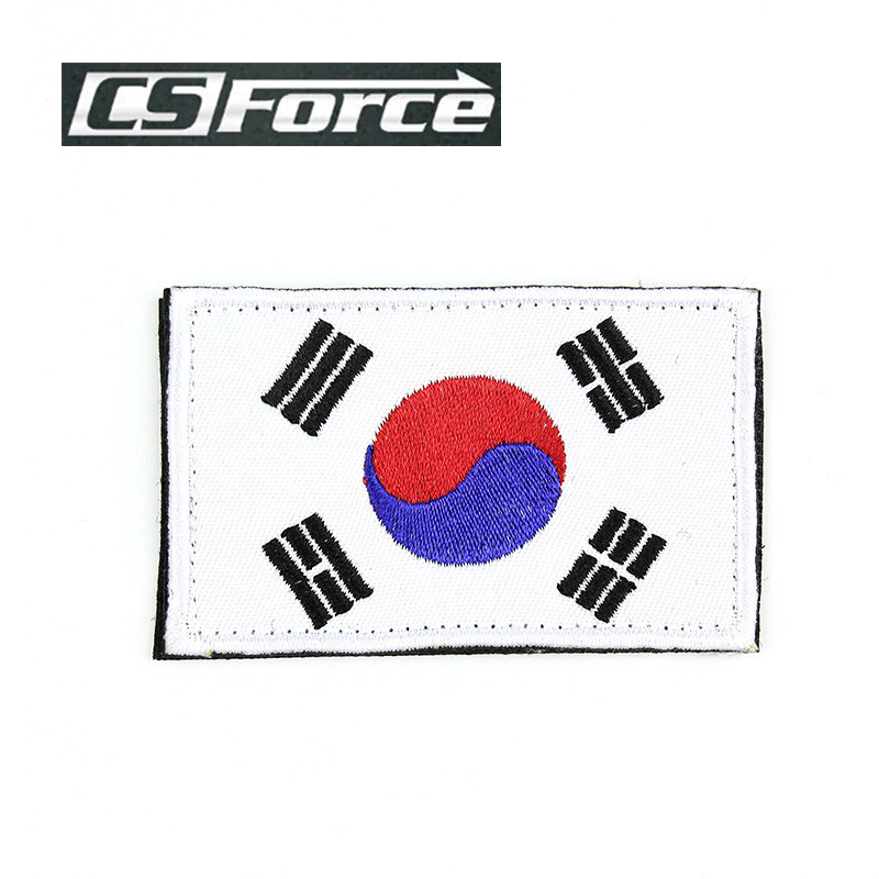 High Quality Embroidery Thread Outdoor Embroidered Patch of Korean Flag Patriotic Military Tactical Patches Hunting Accessory