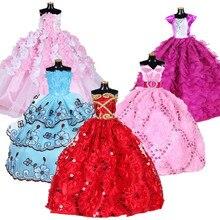 Weiß Elegante Handgemachte Hochzeit prinzessin Kleid Für Baby Puppe Floral Puppe Kleid Kleidung Kleidung Multi Schichten Puppen Zubehör