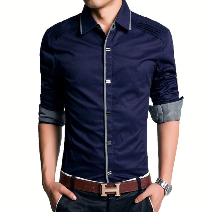 Men 39 s fashion slim lattice stitching shirt size plus 100 for Corporate shirts for men