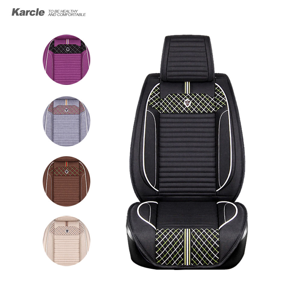 Karcle 1PCS Car Seat Covers Durable Healthy Cloth Linen Seat Cushion Protector Breathable 4 Seasons Car Styling Accessories universal car seat cover fiber linen front cushion 3d car styling seat covers automobiles for toyota for hyundai 1pcs 3 colored