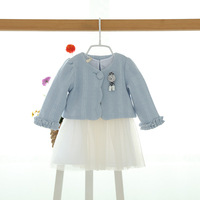 2017new Spring Autumn Girls Baby Clothes Sets Vest Dress Coat 2pcs Newborn Clothes Set Princess Dress