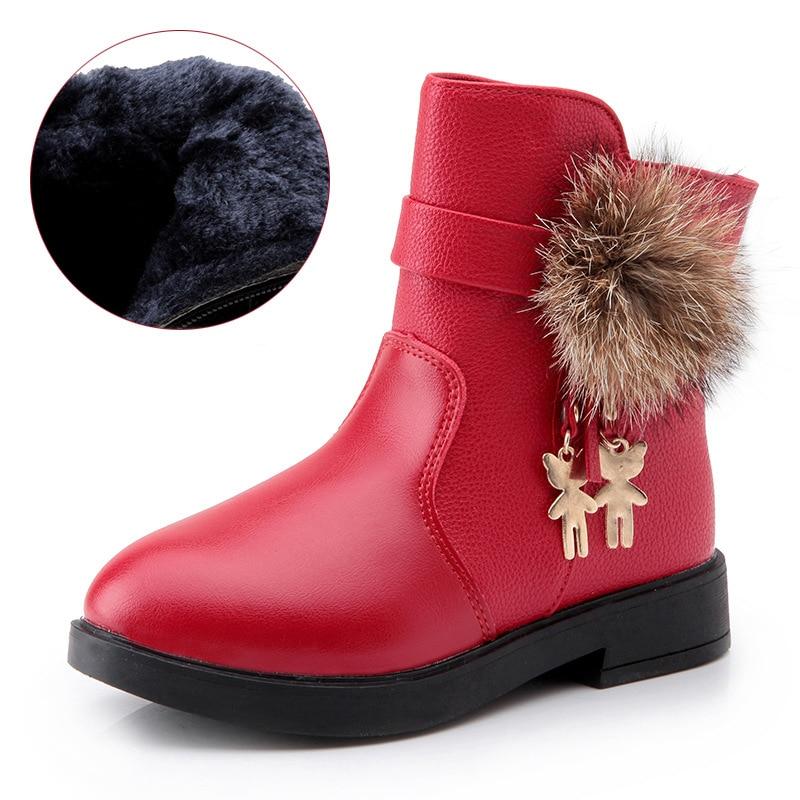 US $15.26 30% OFF|2016 leder Warme Mode Mädchen Schneeschuhe Teenager Winter Stiefel Für Kinder Mädchen Schuhe Kinder Prinzessin Stiefel TX242 in