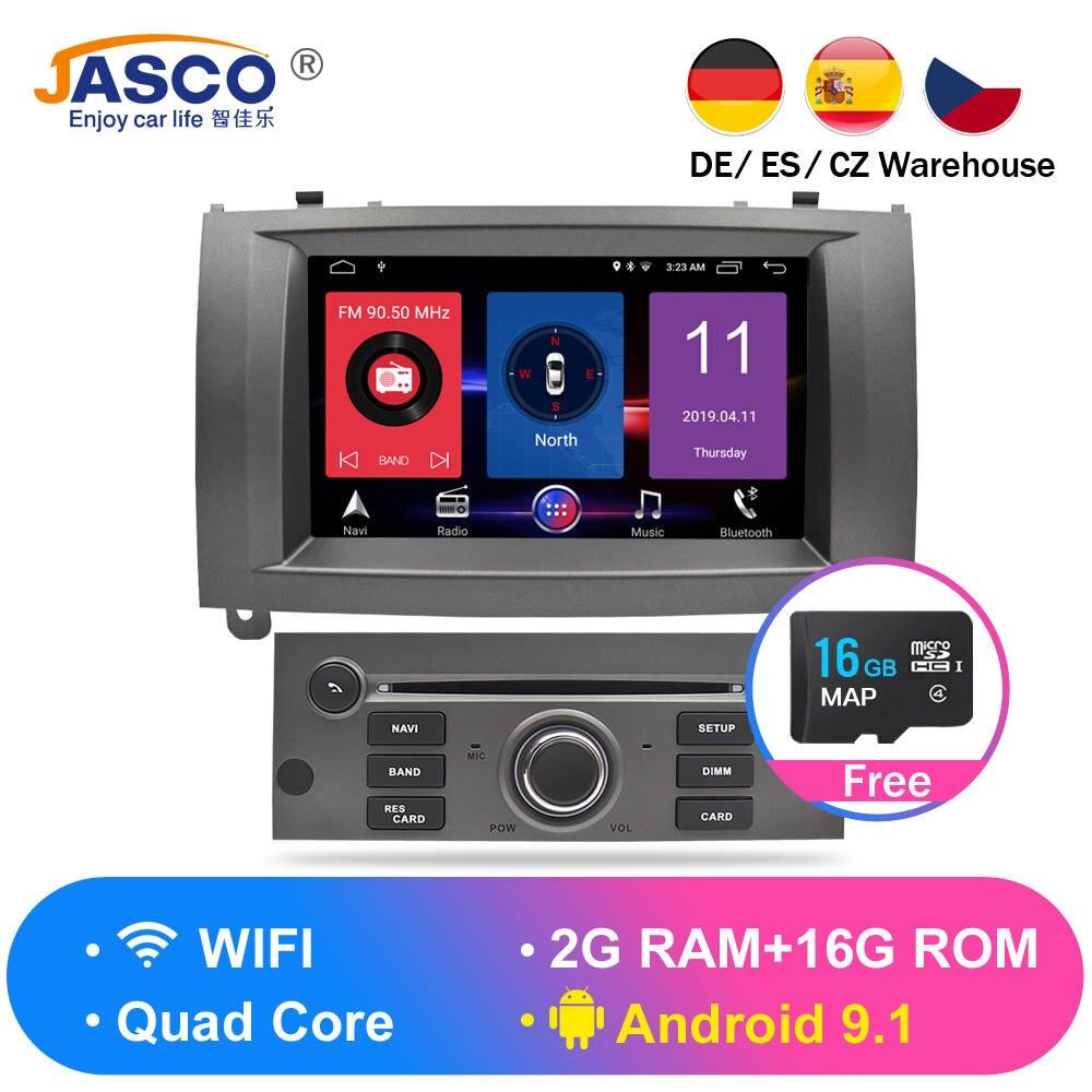 Android 9.0 9.1 RAM Auto Navegação Glonass GPS Stereo Car DVD Unidade Central para Peugeot 407 2004-2010 auto rádio RDS Multimídia 16g