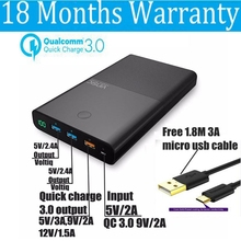 Quick Charge 3.0 Power Bank 28000mah QC3.0 3 USB Ports 2.4A 3A 9V 12V for iPhone 8 Xiaomi Mi5 Nexus 5X 6P Phone Universal