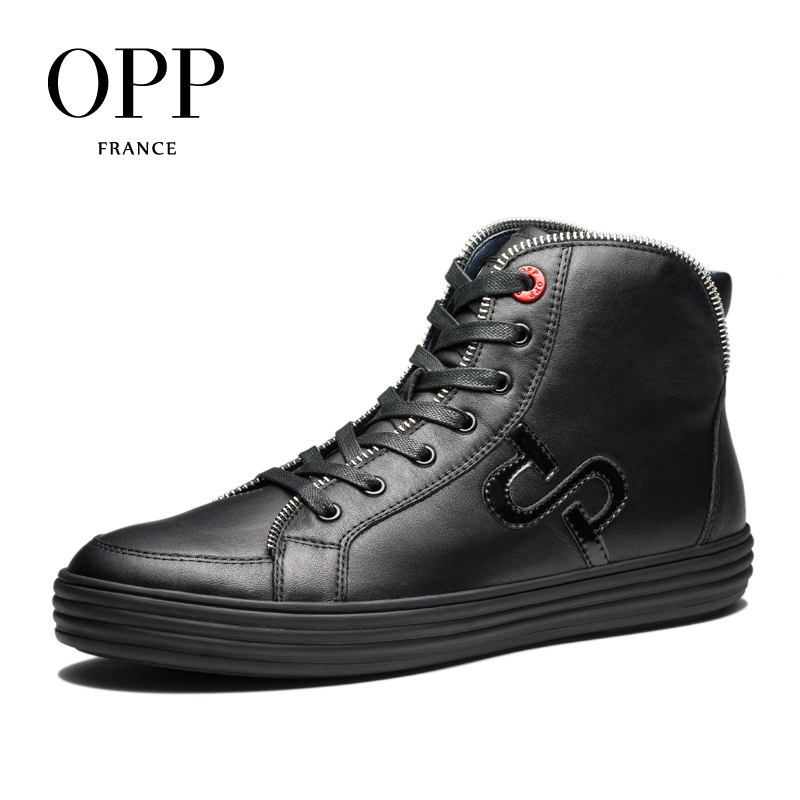 OPP New Men boots 2017 Genuine Leather Men Shoes Winter Boots men Metal Style Shoes Ankle Boots for men