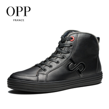 OPP New Men font b boots b font 2017 Genuine Leather Men Shoes Winter font b