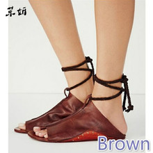 2019 New Summer Gladiator Women Shoes Roman Sandals Genuine Leather Flat Woman Bandages