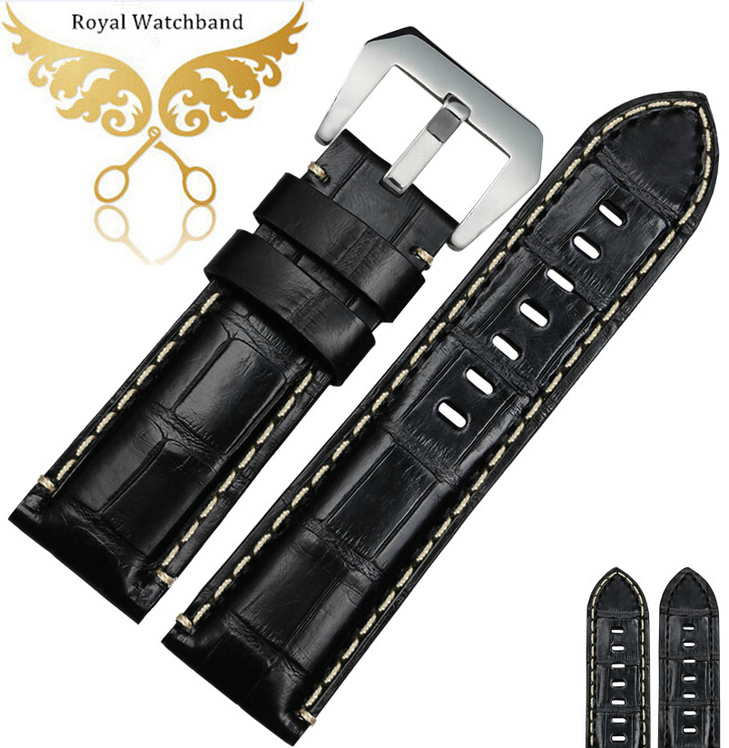 Watch band 24mm Replacement New Mens Black Crocodile Genuine Leather Watch Bands Strap Bracelets With Silver Metal Buckle new mens genuine leather watch strap bands bracelets black alligator leather 18mm 19mm 20mm 21mm 22mm 24mm without buckle