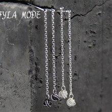 Fyla Mode Statement Real Silver Long Earrings For Women Dangle Hanging Earring 925 Sterling-Silver Luxury Fine Jewelry bijouteri