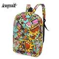 1pcs Fashionable Animal Printed Canvas Backpack Cartoon Letter Graffiti Schoolbag Satchel Travel Bag Men Mochila