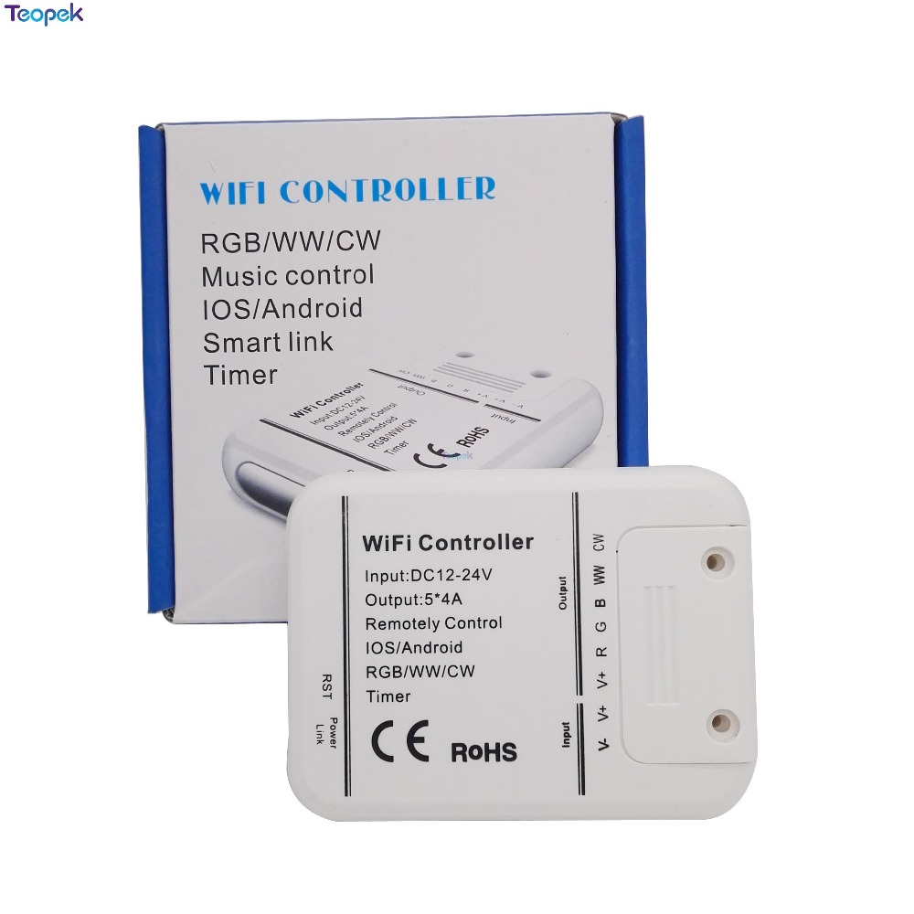 Magic Home <font><b>5</b></font> Channels Wifi RGB/CW/WW LED Controller 16 million color DC12-24V 20A Smartphone control music and timer mode image