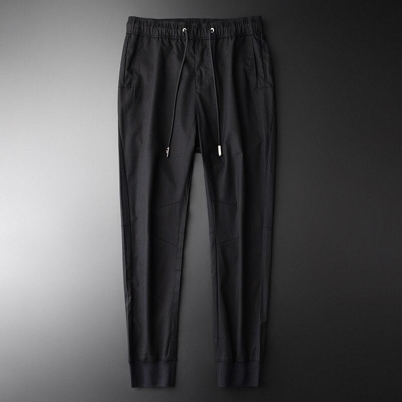 4xl Plus Minglu De Cheville Casual La Tencel Tissu M H Hommes k1838 Et Taille longueur Doux Pantalon À Nouvelle Mode Noir wZUXYxZ