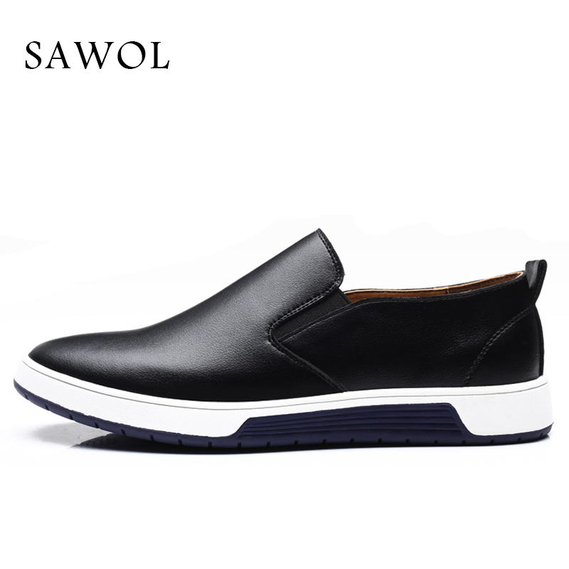 Espadrilles Appartements Sawol Taille Cuir En brown Marque Automne Printemps Split Casual Hommes Slip Plus Black Véritable Chaussures blue On Grand ZxaqfW1WnX