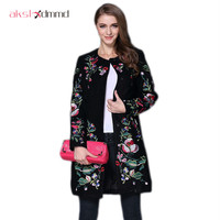 Women Embroidery Print Long Woolen Winter Coat 2015 New Brand Loose Plus Size Blends Warm Temperament