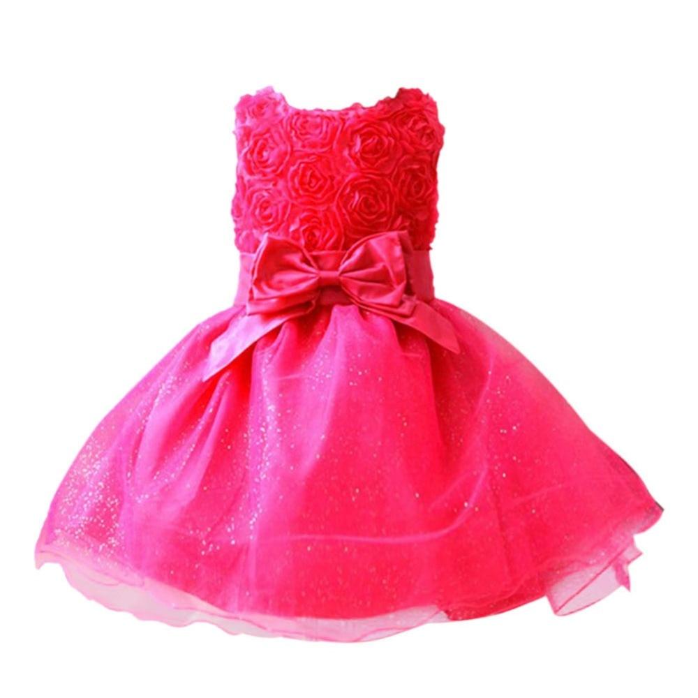 ④Niñas vestido infantil del verano del arco rojo del vestido para ...