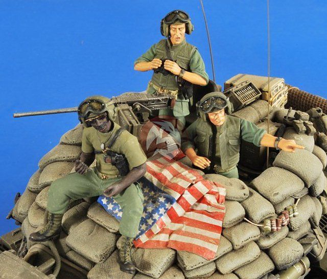 Assembly Unpainted Scale <font><b>1</b></font>/<font><b>35</b></font> US AFV Crew <font><b>Vietnam</b></font> Set soldier <font><b>figure</b></font> Historical <font><b>Resin</b></font> Model image