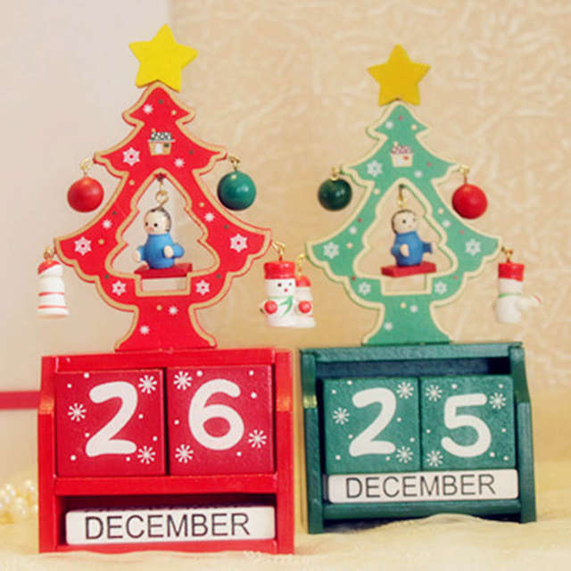 Handmade Wooden Christmas Advent Calendar Countdown Xmas New Year Ornaments Decor Tree Pattern Red Green 16 7 4cm 1pc