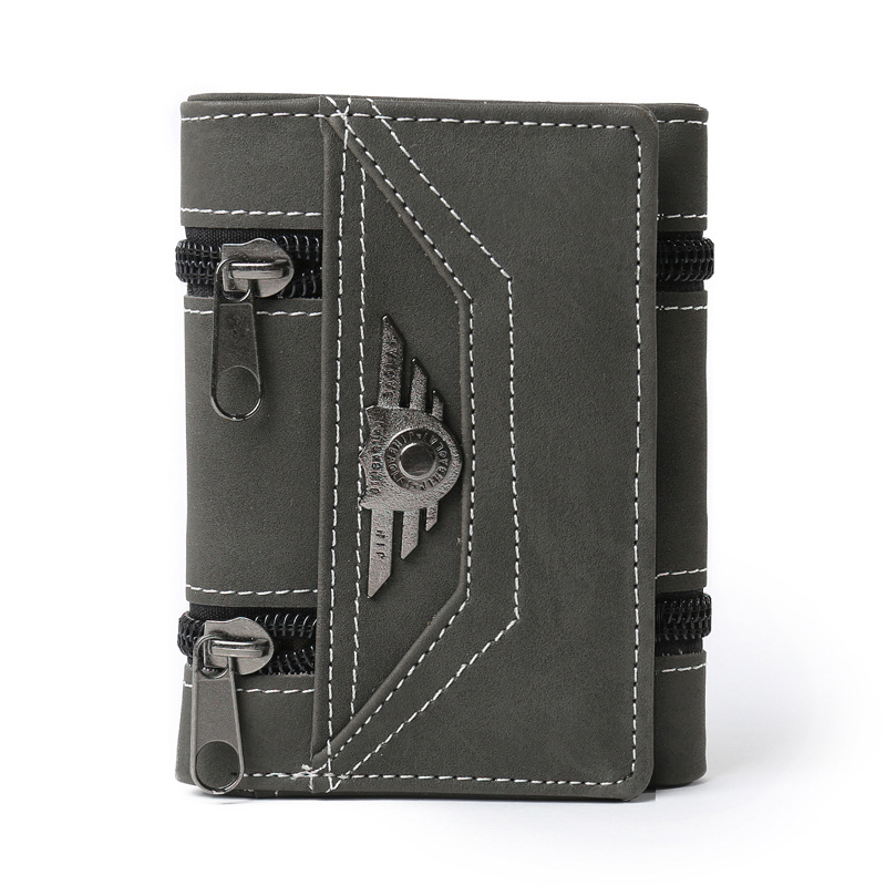2018 Fashion Rivets wallets Vintage PU leather purse for men concise quality thin free shipping money clip card organizer man 1