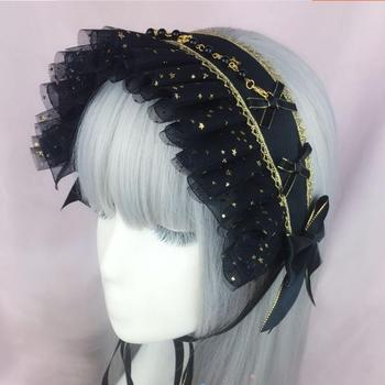 Japanese Gothic Dark Girls Cross Starry sky Headband Lolita Bonnet Lace Bow Headwear Cosplay Punk Hair band Black Accessories