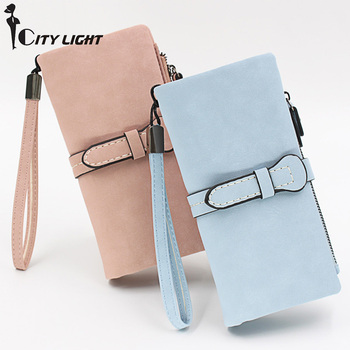 Long Purse Two Fold Women Wallets Drawstring Nubuck Leather Zipper Wallet With Wrist strap Ladies Carteira Feminina Clutch Bag