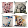 Creative Elephant Pattern Cotton Pillow Cover Pillow Cushion Cover Home Decoration Cheap Vintage Decorative Cushion CoversPTSP