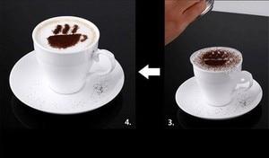 Image 4 - 16 cái/bộ Cà Phê Latte Cà Phê Cappuccino Nghệ Thuật Stencils Bản Mẫu Strew Hoa Miếng Lót Lau Bụi Phun cho Cà Phê Trang Trí Dụng Cụ Phụ Kiện