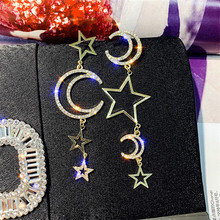 FYUAN Long Asymmetry Drop Earrings Star Moon Rhinestone Dangle Earrings for Women Wedding Fashion Jewelry Gifts недорого