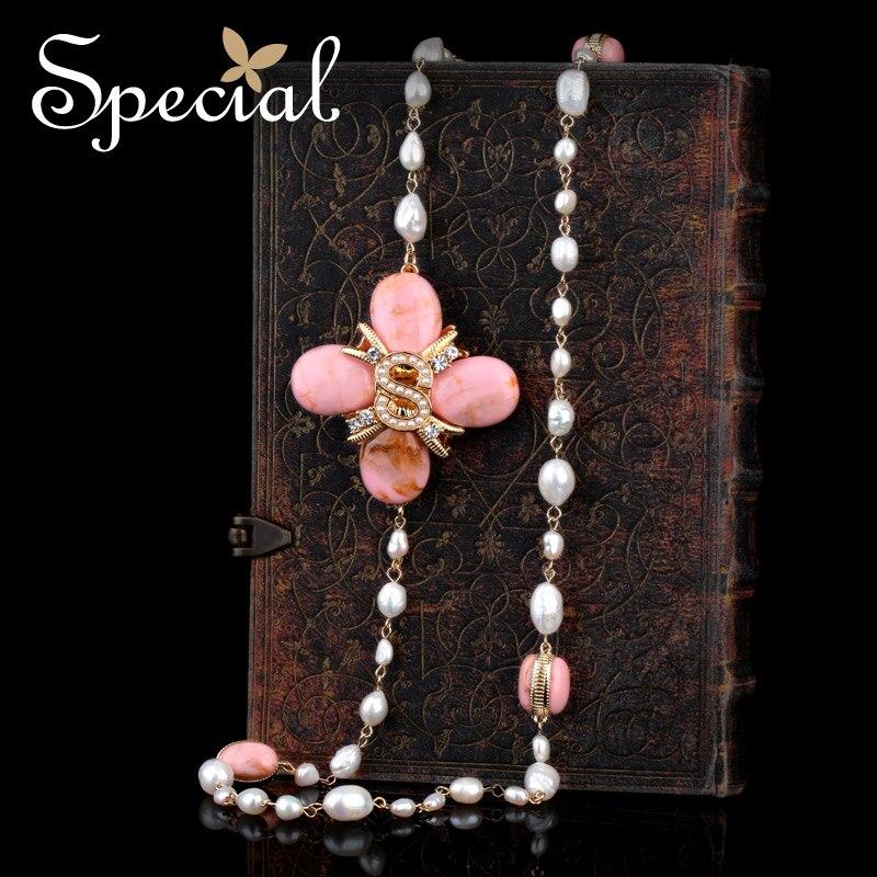 Especial nueva moda natural perlas Collares y colgantes Cuentas Flor del  collar largo joyería 2017 regalos para mujeres s1622n d673a3708785