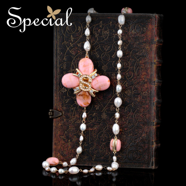 Special New Fashion Natural Pearls Necklaces & Pendants Beads Long Necklace Flower Jewelry 2017 Gifts for Women S1622N